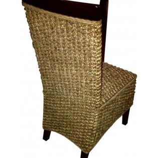 silla con respaldar recto de jacinto de agua con caoba