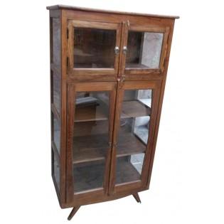 Escaparate indio de vidrio con 4 estantes