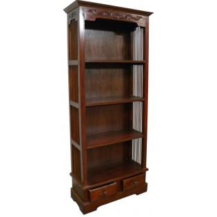 Librero de 4 estantes y 2 cajones en caoba