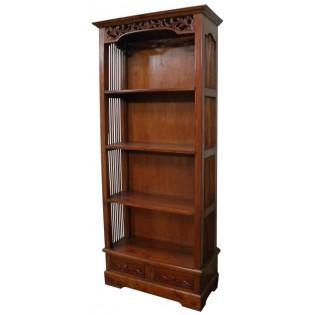 Librero de caoba de 4 estantes y 2 cajones