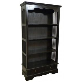 Librero en caoba oscuro de 4 estantes y 2 cajones