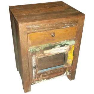 Mesa de noche de 1 cajon y 1 puerta en madera recuperada de color de India