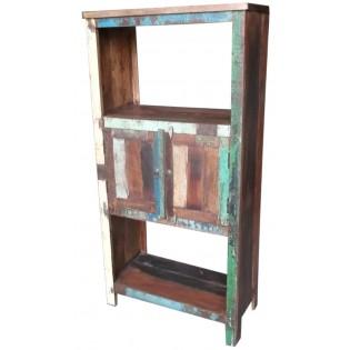 Librero indio de madera recuperada de color