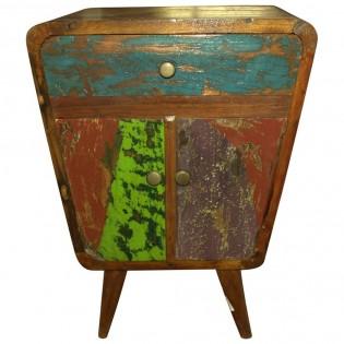 Mesita de noche en madera de teca de recuperacion vintage